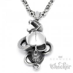 Totenkopf mit Schlange aus Edelstahl Anhänger mit Halskette Königskette Bikerschmuck