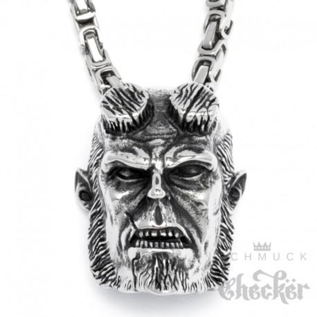 Hellboy Anhänger aus Edelstahl mit Königskette Kino Film Comic groß silber Halskette