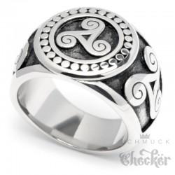 Edelstahl-Ring mit keltischer Triskele nordisch germanisch Dreier-Spirale silber massiv