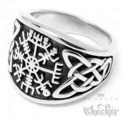 Wikingerring mit Runen-Kompass Vegvisir nordischer Ring Edelstahl silber hochwertig