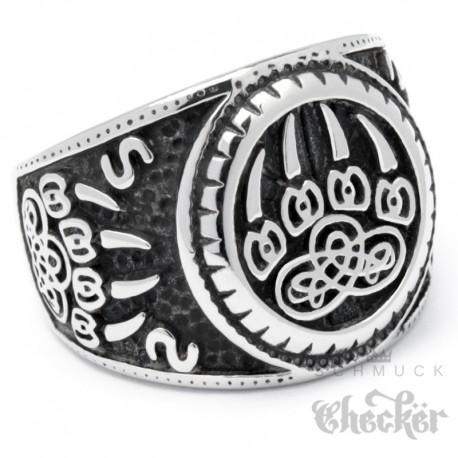 Wikingerring mit Bärentatze nordischer Berserker Ring Edelstahl silber hochwertig