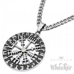 Vegvisir Wikinger-Kompass Anhänger aus Edelstahl Schutz Runen Herren Schmuck Halskette
