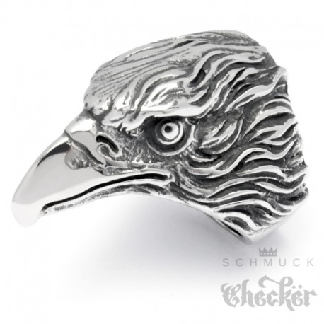 Großer XL Adler Ring aus Edelstahl hochwertig silber Bikerring Männerring Vogel