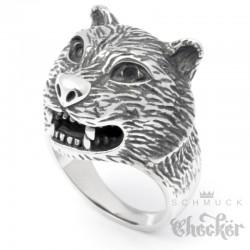 Raubkatzen Ring aus Edelstahl Panther Leopard Jaguar silber Bikerring Damen Herren