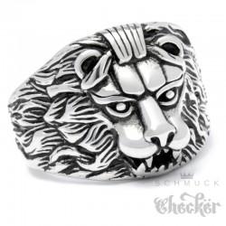 Ring mit Löwe aus Edelstahl silber hochwertig Löwenkopf Bikerring Herrenring Lion