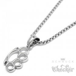 Mini Schlagring Anhänger aus Edelstahl mit Halskette hochwertig silber Männerschmuck