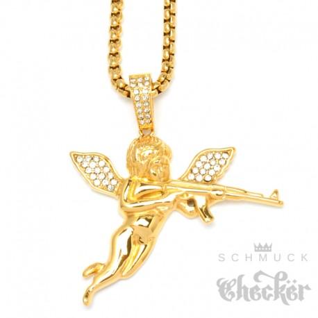 Vergoldeter Engel Anhänger mit Zirkonia AK47 Edelstahl 60cm Halskette Kette Gewehr