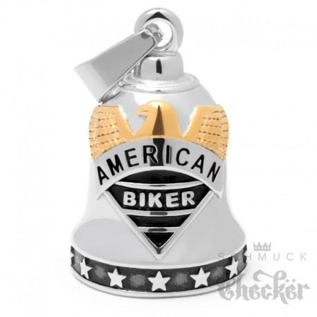 American Biker Biker-Bell aus Edelstahl in silber & gold Adler Live to Ride Glücksglocke