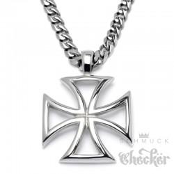 Massiv Edelstahl Herren Anhänger Eisernes Kreuz Iron Cross silber + 60cm Kette