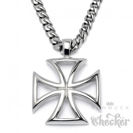 Massiv Edelstahl Herren Anhanger Eisernes Kreuz Iron Cross Silber
