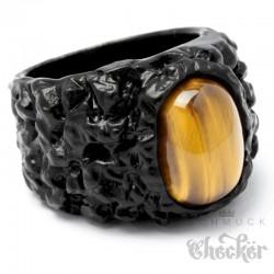 schwarzer Fels mit Tigerauge Edelstahl Ring Stein Damen Herren massiver Klunker