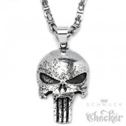 The Punisher Totenkopf Anhänger aus Edelstahl mit Königskette Halskette Männer Schmuck