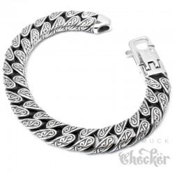 Verziertes Herrenarmband aus Edelstahl mit S-Muster 22cm Hochwertiges Bikerarmband