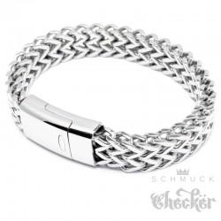 Hochwertiges Fuchsschwanz Herrenarmband aus Edelstahl mit Magnetverschluss silber