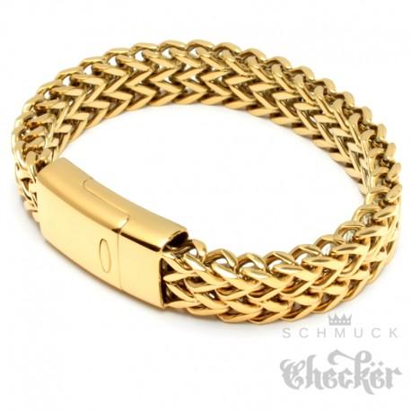 Goldenes Fuchsschwanz Herrenarmband aus Edelstahl mit hochwertigem Magnetverschluss