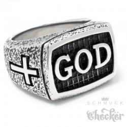 GOD Ring mit 2 Kreuzen aus Edelstahl Christlicher Bikerring Gott Kreuz silber