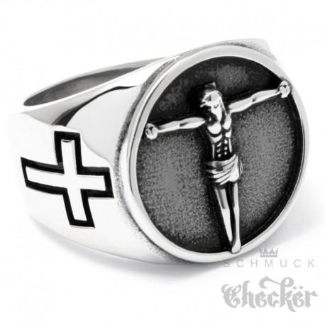 Jesus Ring mit 2 Kreuzen aus Edelstahl Christlicher Bikerring Kreuz silber massiv