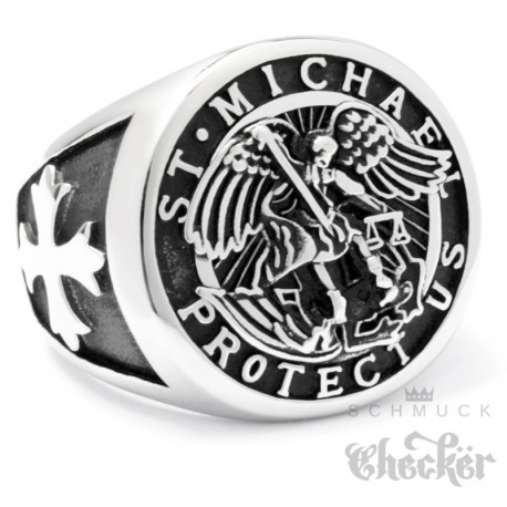 Erzengel St. Michael Ring aus Edelstahl Christlicher Bikerschmuck Kreuz Engel