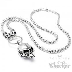 75cm lange Halskette mit Totenköpfen Edelstahl Bikerschmuck hochwertig silber Skulls