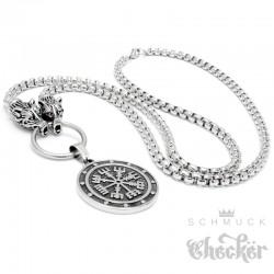75cm lange Halskette mit Vegvisir & Wölfen Edelstahl Männer Wikingerschmuck Amulett