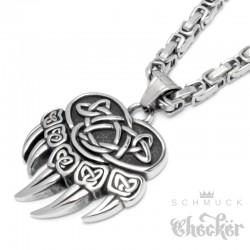 Berserker Anhänger mit Bärentatze nordischer Wikingerschmuck Edelstahl Halskette