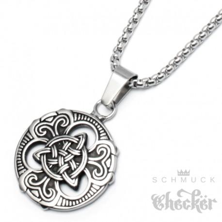 Kleines keltisches Medaillon mit verzierter Triqueta Edelstahl silber Halskette