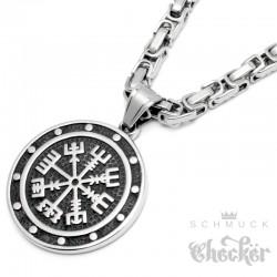 Vegvisir Runen-Kompass aus Edelstahl mit Königskette silber Herren Wikingerschmuck