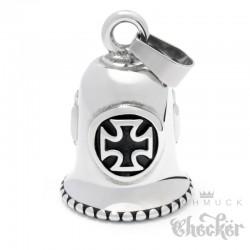 Bikerbell mit 3 Eisernen Kreuzen Glücksglocke aus Edelstahl silber Iron Cross