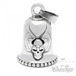 Bikerbell mit beflügeltem Totenkopf Glücksglocke aus Edelstahl Winged Skull Biker