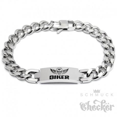 100% BIKER Armband aus Edelstahl mit Totenkopf & Flügel Panzerkette Bikerschmuck
