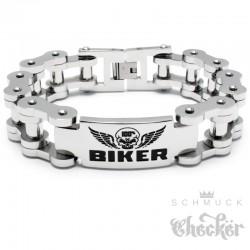 XL Motorradketten-Armband mit 100% BIKER Schild aus massivem Edelstahl Bikerschmuck