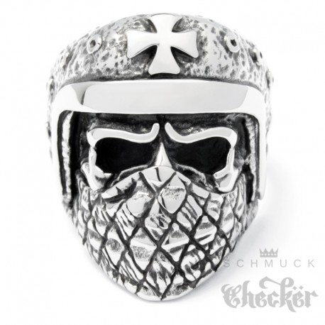 Bikerring maskierter Totenkopf mit Helm & Eisernes Kreuz Outlaw Ring aus Edelstahl