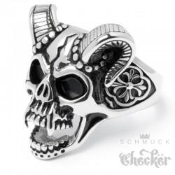 Devil Skull Ring aus Edelstahl Totenkopf mit Hörnern & Lilienkreuz Teufel Bikerring