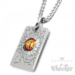 Evil Eye Anhänger aus Edelstahl Feuer Auge Sonne Mond Sterne Amulett + Halskette
