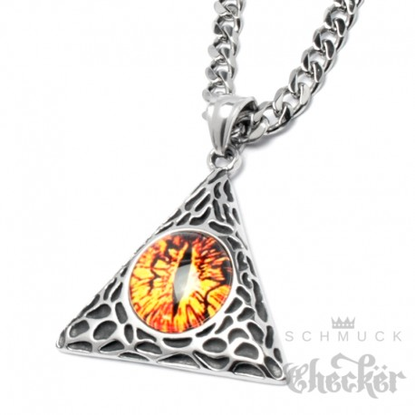 Evil Eye Anhänger aus Edelstahl Saurons Feuer Auge in Dreieck der Macht + Kette