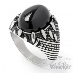 Ring aus Edelstahl mit großem Onyx Stein schwarz silber einigartig Damen Herren