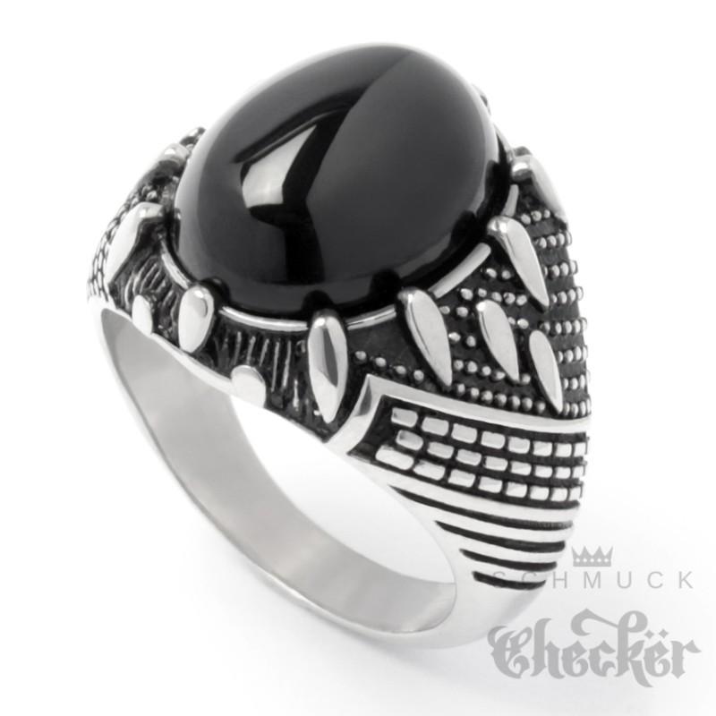 Ring aus Edelstahl mit großem Onyx Stein schwarz silber