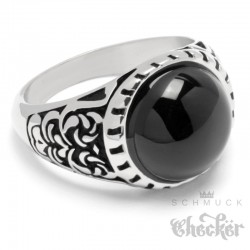 Verzierter Ring mit rundem Onyx Stein schwarz silber Edelstahl Damen Herren Muster