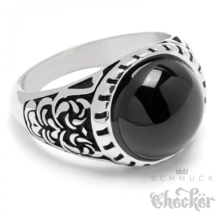 Verzierter Ring mit rundem Onyx Stein schwarz silber