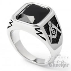 Freimaurer Ring mit Onyx Stein schwarz silber 316L Edelstahl Geheimbund Siegelring