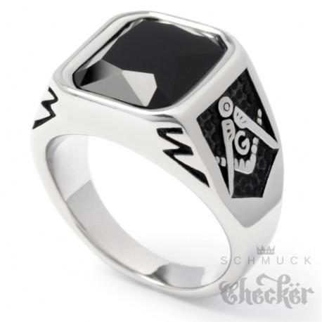 Freimaurer Ring mit Onyx Stein schwarz silber 316L Edelstahl Geheimbund Siegelring Schmuck Checker