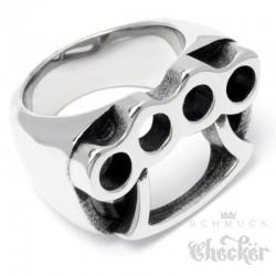 Massiver Schlagring Herren Ring aus Edelstahl silber hochwertig Outlaw Gangster
