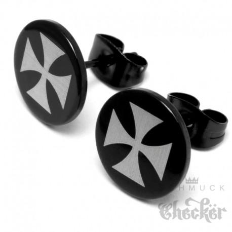 Eisernes Kreuz Ohrstecker aus Edelstahl runde schwarze Ohrringe Herren Bikerschmuck