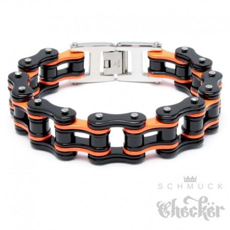 Motorradketten-Armband in Harley-Farben Schwarz Orange Bikerarmband aus Edelstahl