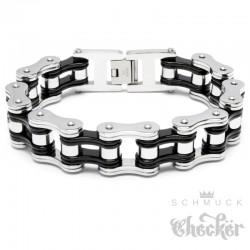 Motorradketten-Armband in Silber Schwarz aus 316L Edelstahl Bikerschmuck Armkette