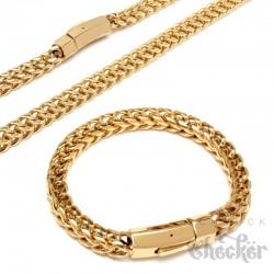 XL Fuchsschwanzkette und Armband Set aus Edelstahl dicke gold Halskette Geschenk