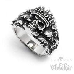 Edelstahl Ring silber massiv Totenkopf mit Krone König Skull King Biker Gothic