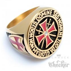 Goldener Templer Ring aus Edelstahl Kreuzritter Siegelring mit rotem Tatzenkreuz