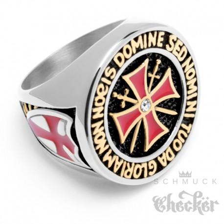 Hochwertiger Templer Ring aus Edelstahl Tempelritter Siegelring mit rotem Kreuz