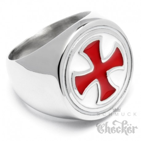Schlichter Kreuzritter Ring aus Edelstahl mit rotem Tatzenkreuz Templer-Zeichen